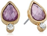 lonna & lilly Gold-Tone and Pink Flower Floater Stud Earrings