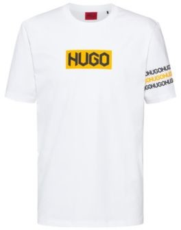 HUGO BOSS Cotton T Shirt With Tire Print Logos - White