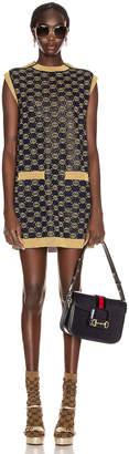 Gucci Sleeveless GG Crew Neck Dress in Blue & Gold | FWRD