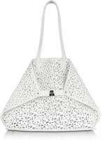 Akris Ai Medium White Laser Cut Leather Tote Bag w/Inner Canvas Tote