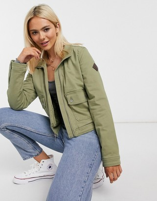 Hollister twill jacket in khaki