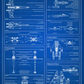 Star Wars Trends International Rebel Blueprint Poster, Premium Unframed
