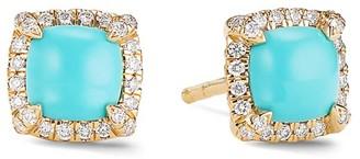 David Yurman Petite Chatelaine Pave Bezel Stud Earrings in 18K Yellow Gold with Gemstone