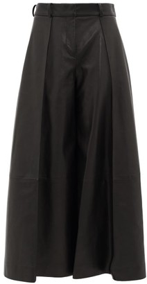 KHAITE Selma High-rise Leather Wide-leg Trousers - Black