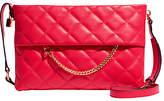 Karen Millen Leather Chain Zip Cross Body Bag, Pink Quilt