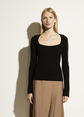 Vince Cashmere Ribbed Square Neck Long Sleeve