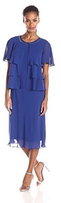 SL Fashions Women's Jewel Trimmed Multi Tiered Jacket Over Chiffon Dress