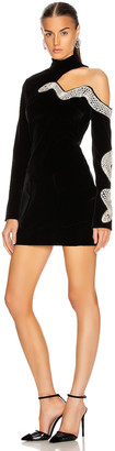 David Koma Snake Embroidered Mini Dress in Black & Silver | FWRD