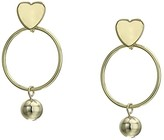 Kenneth Jay Lane Gold Heart Top with Round Hoop/Ball Drop Pictured Earrings (Gold) Earring