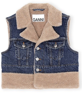 Ganni Teddy Denim Vest in Denim