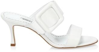 Manolo Blahnik Gable Leather Mule Sandals