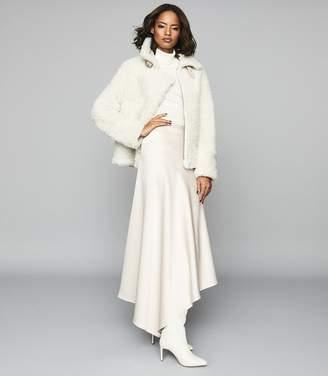 Reiss HARLEY Asymmetric Satin Maxi Skirt Silver