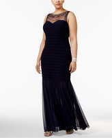 Xscape Evenings Plus Size Beaded Illusion Mermaid Gown