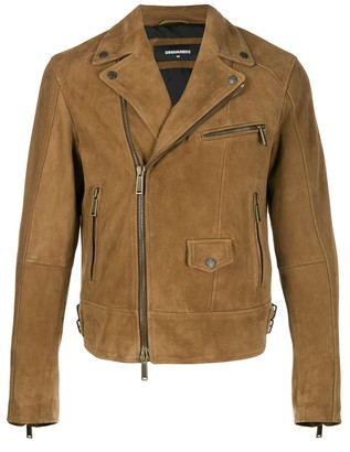 DSQUARED2 Pocket Detail Suede Biker Jacket