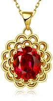 """B.young Crystal 18K RGP Gold Plated Silve Rolo Chain Hollow Pendant Necklace 18"""" Gold"""