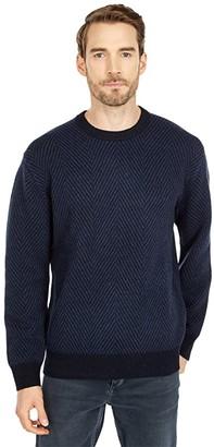 Lacoste Long Sleeve Printed Jacquard Crew Neck Sweater (Abysm/Heather Nebula) Men's Clothing