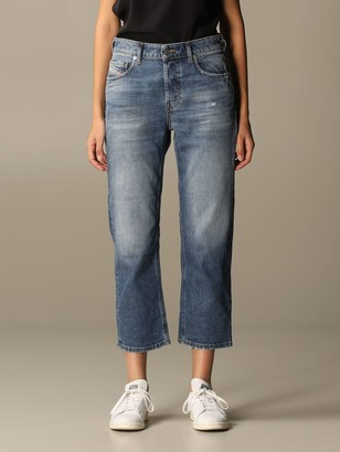 Diesel Cropped Jeans In Used Denim
