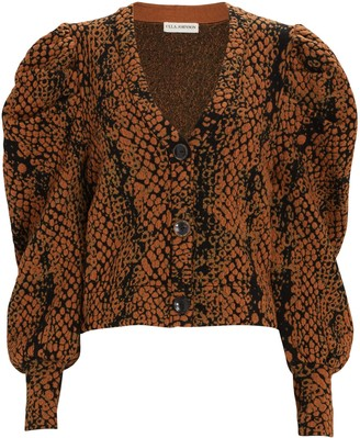 Ulla Johnson Elisa Puff Sleeve Jacquard Cardigan