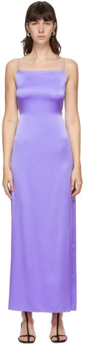 Helmut Lang Purple Silk Satin Open Back Dress