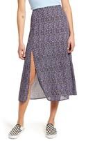 GOOD LUCK GEM Side Slit Floral Midi Skirt