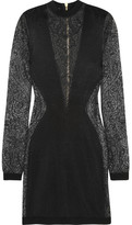 Balmain Paneled Stretch-knit Mini Dress - Black