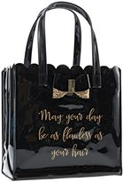 Sally Hair Care Tote with Glitter Bow Black