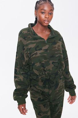 Forever 21 Plus Size Camo Print Semi-Cropped Pullover