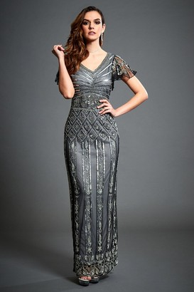 Jywal London Virginia Grey Embellished Maxi Dress