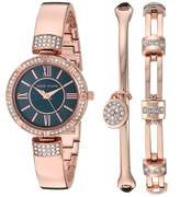 Anne Klein Women's Swarovski Crystal Accented Silver-Tone Bangle Watch and Bracelet Set AK/3294BKST