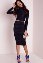 Missguided Metallic Ruched Side Midi Skirt Navy