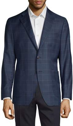 Saks Fifth Avenue Made In Italy Plaid Wool & Silk Jacket