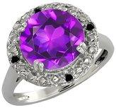 Gem Stone King 3.19 Ct Round Purple Amethyst and Black Diamond 14k White Gold Ring