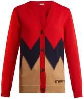 Miu Miu Chevron-knit long-sleeved wool cardigan