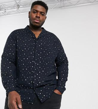 ASOS DESIGN Plus regular fit shirt in gold foil print with shawl collar