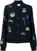 Mira Mikati Patch Embroidered Bomber Jacket with Minions