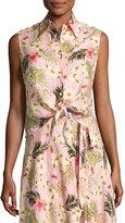 Miguelina Nelline Palm-Printed Tie-Waist Linen Shirt, Pink