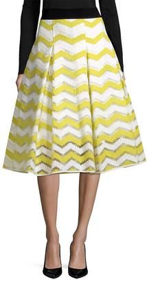 Milly Chevron Inverted Pleat Skirt