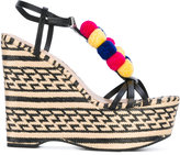 Schutz pom pom wedge sandals - women - Leather/rubber - 37