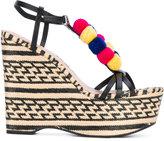 Schutz pom pom wedge sandals - women - Leather/rubber - 39