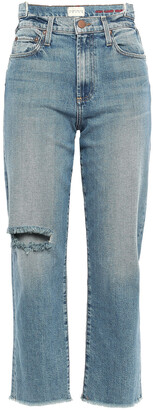 Alice + Olivia Try Me Distressed High-rise Straight-leg Jeans