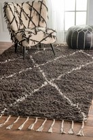 nuLoom Hand Knotted Fez Shag Wool Rug - Brown