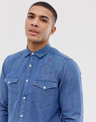 Asos DESIGN regular fit western denim shirt with geo-tribal print
