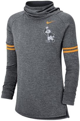 Nike Women's Heathered Black Iowa Hawkeyes Vault Sleeve Striped Funnel Neck Sweatshirt