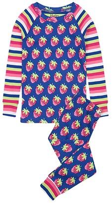 Hatley Strawberries Raglan PJ Set (Toddler/Little Kids/Big Kids) (Blue) Girl's Pajama Sets