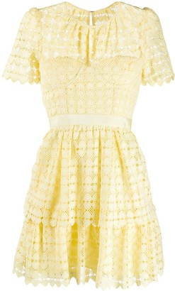 Self-Portrait Heart Lace mini dress