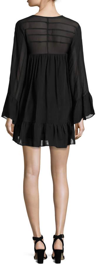 Rachel Zoe Anita Bell-Sleeve Silk Mini Dress, Black