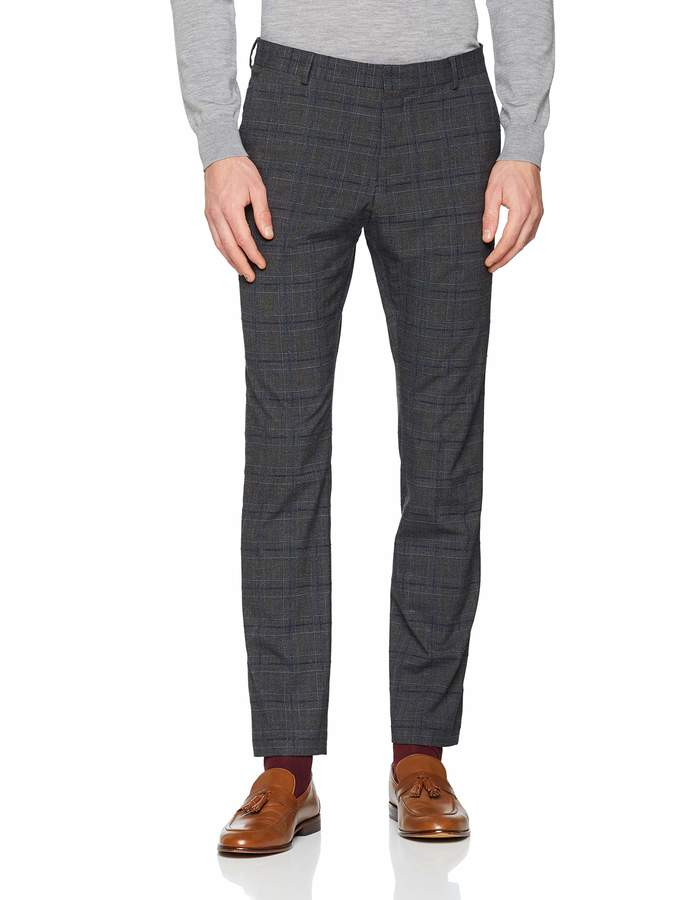 Selected Mens Slhslim-cellogan Grey Check TRS B Noos Suit Trousers