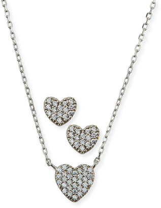 Helena Girl's Pave Heart Necklace w/ Matching Stud Earrings Set