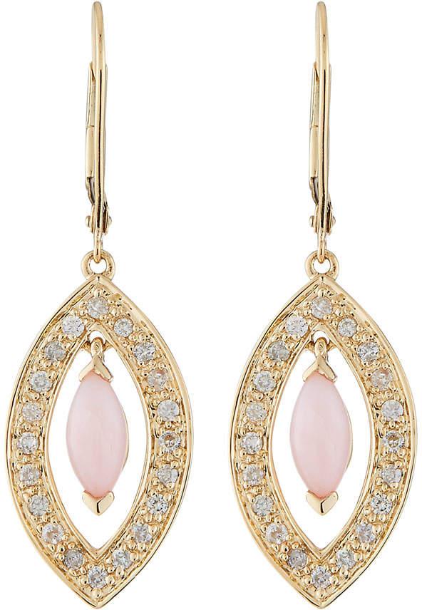 Sydney Evan 14k Opal Oval & Diamond Drop Earrings