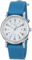 "Timex Women's T2P2279J ""Weekender"" Silver-Tone Watch with Blue Nylon Band"